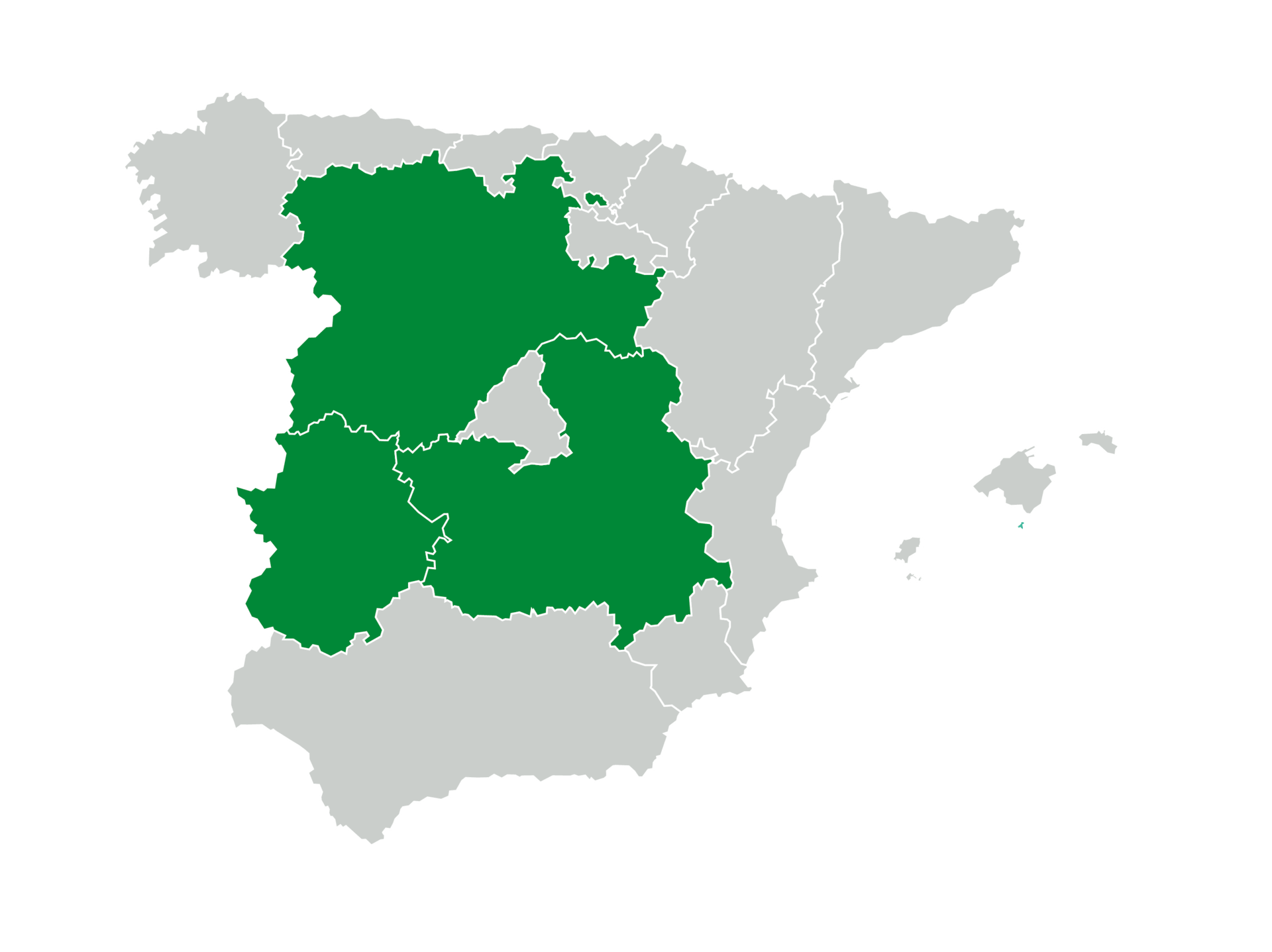 Mapa de España con Castilla y León, Castilla-La Mancha y Extremadura marcadas en verde